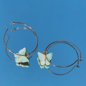 Turquoise and Gold Butterfly Hoop Earrings